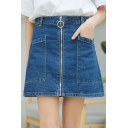 High Waist Zip Fly New Fashion Plain Mini A-Line Denim Skirt with Pockets