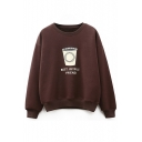 Casual Leisure Cup Letter Printed Round Neck Long Sleeve Pullover Sweatshirt