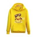Cute Cartoon Pikachu Printed Long Sleeve Hoodie Sweatshirt with One Pocket