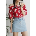Off The Shoulder Fresh Floral Printed Blouse with Mini Plain Denim Skirt