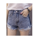 High Waist Chic Ripped Hem Summer's Fashion Denim Shorts
