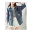 Boyfriend Style Oversize Letter Patched Long Sleeve Lapel Collar Denim Jacket
