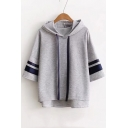 Batwing Sleeve Half Sleeve Striped Leisure Loose High Low Hoodie