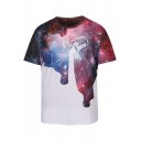 Hot Fashion Galaxy Printed Round Neck Short Sleeve Pullover T-Shirt