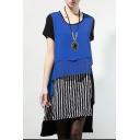 New Stylish Short Sleeve Round Neck Striped Color Block Patchwork Asymmetric Dress
