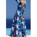 Women's Floral Printed Color Block 3/4 Length Sleeve Round Neck Zip Back Maxi A-Line Dress