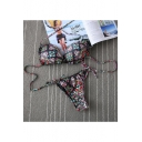 Women's Halter Tied Back Color Block Printed Bikinis