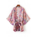 New Arrival Floral Horse Printed Casual Leisure Bow Tie Waist Kimono Coat