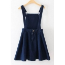 New Arrival Plain Open Back Mini A-Line Denim Overall Dress