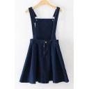 New Arrival Plain Open Back Mini A-Line Denim Overall Dress
