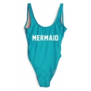 Women's MERMAID Letter Printed Sleeveless Scoop Neck One Pieces Swimwear
