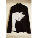 Adorable Contrast Cat Printed Long Sleeve Lapel Single Breasted Shirt