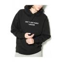 Simple Letter Printed Long Sleeve Hoodie Sweatshirt with One Kangaroo Pocket
