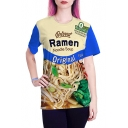 Hot Fashion 3D Noodles Pattern Round Neck Short Sleeve Unisex Casual T-Shirt
