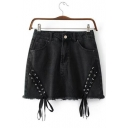 New Arrival Oblique Lace Up Fronted Plain Mini Denim A-Line Skirt