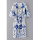 New Stylish Wrap V-Neck Long Sleeve Belt Waist Blue and White Porcelain Printed Rompers Asymmetric Dress