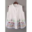 Chic Floral Embroidered Sleeveless Collarless Buttons Down Shirt