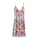 Floral Printed Spaghetti Straps High Low Midi Slip Dress