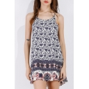 Summer Spaghetti Straps Sleeveless Floral printed Mini Beach Dress