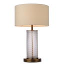 Ripple Glass Cylinder Table Lamp with Drum Fabric Shade in Beige