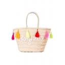 Simple Colorful Tassel Trim Design Beach Leisure Shoulder Bag