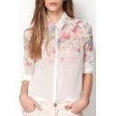 New Fashion Ombre Floral Printed Lapel Collar Long Sleeve Chiffon Shirt