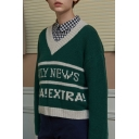 New Fashion Retro V Neck Letter Printed Long Sleeve Casual Pullover Sweater