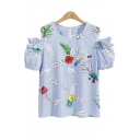 Chic Ruffle Cold Shoulder Short Sleeve Striped Floral Printed Round Neck Tee