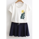 Fresh Embroidery Floral Tee with Drawstring Waist Plain Mini Skirt Leisure Co-Ords