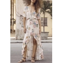 Summer's Fashion Floral Printed Plunge Neck Short Sleeve Beach High Low Asymmetrical Dress