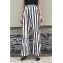 Summer's New Arrival Elastic Waist Striped Printed Loose Wide Legs Pants