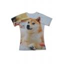 Cute Akita Dog Printed Short Sleeve Round Neck Tee