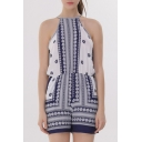 New Arrival Chic Tribal Printed Halter Neck Sleeveless Beach Loose Rompers