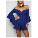 Sexy Off the Shoulder Bell Long Sleeve Plain Rompers