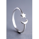 Fashion Plain Star Moon Shaped Open Rings