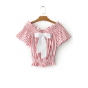 Elastic Boat Neck Short Sleeve Bow Embellished Striped Printed Cropped Blouse