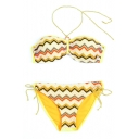 New Arrival Wave Striped Printed Halter Neck Top String Bottom Swimwear