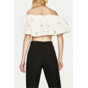 New Arrival Chic Embroidered Ruffle Hem Off The Shoulder Cropped Blouse