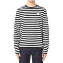 New Arrival Striped Printed Long Sleeve Round Neck Casual T-Shirt
