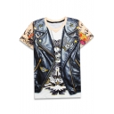3D Skull PU Vest Pattern Casual Loose Round Neck Short Sleeve Pullover T-Shirt