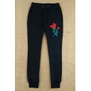 New Arrival Floral Embroidered Drawstring Waist Casual Sports Pants