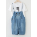 Lovely Cartoon Cat Printed Spaghetti Straps Wide Legs Denim Overalls