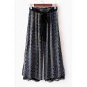 New Arrival Belt Waist Lace Patchwork Color Block Printed Wide Leg Pants