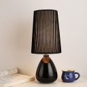 Handmade Ceramic Bottle Table Lamp Strip Fabric Black