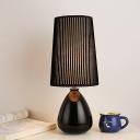 Handmade Ceramic Bottle Table Lamp Strip Fabric Black