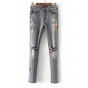 Women's Floral Printed Broken Knees Low Waist Skinny Jeans