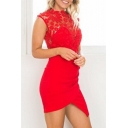 Fashion Round Neck Sleeveless Chic Lace Hollow Out Mini Bodycon Asymmetrical Dress