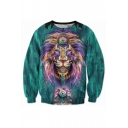 3D Ink Lion Pattern Casual Long Sleeve Round Neck Pullover Sweatshirt