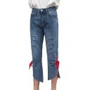 New Arrival Tied Sides Asymmetric Hem High Waist Ripped Jeans
