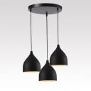Modern Circular Canopy Multi-light Pendant with Black Teardrop Shade, 3 Lights